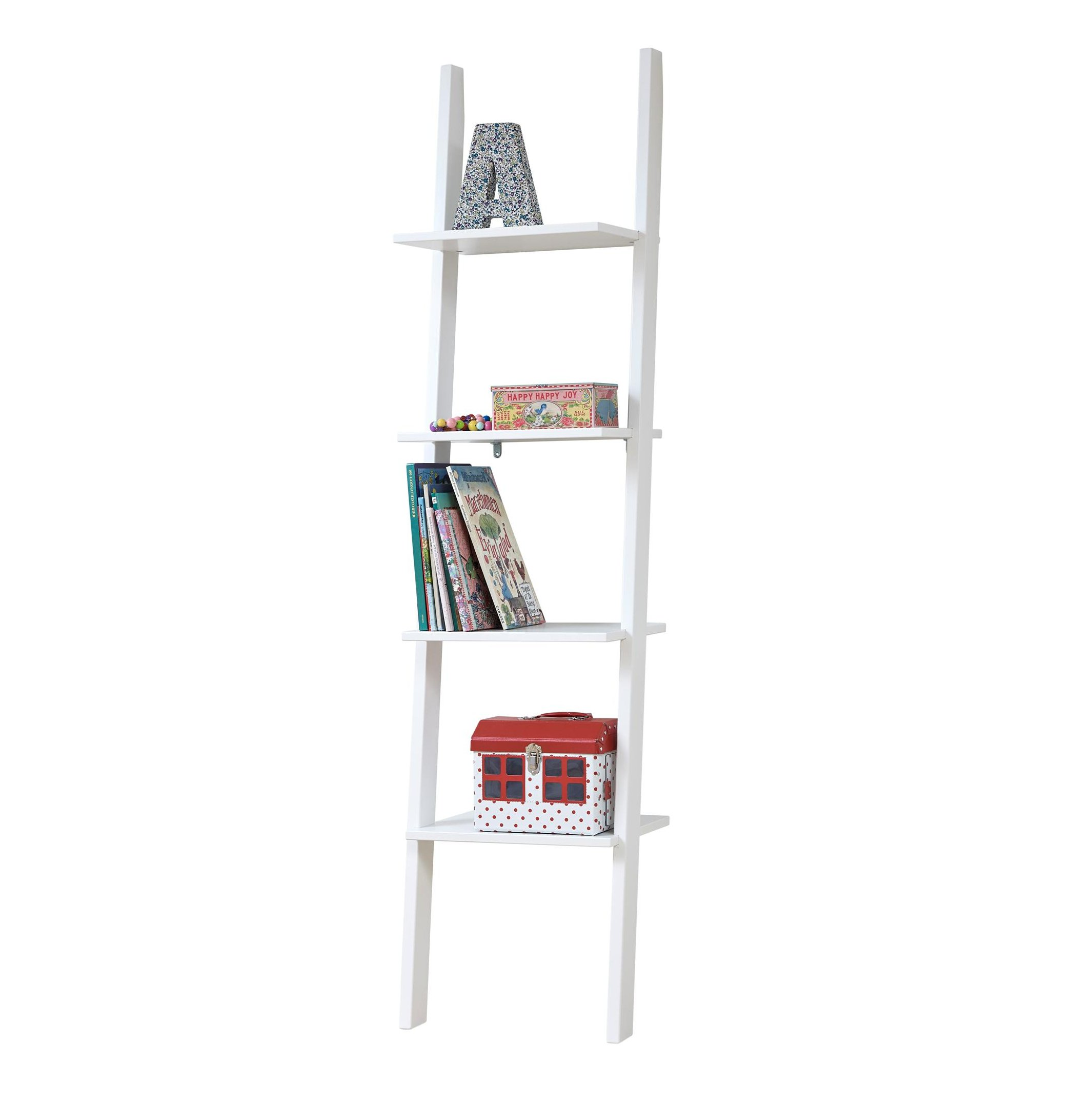 Leaning bookcase with 4 shelves white for children in s a for White bookcase for kids room