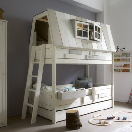 My Adventure Hangout as a Bunk Bed, Solid Wood White by Lifetime Kidsrooms