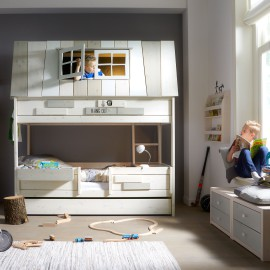 My Adventure Hangout on a Bed, Solid Wood with loft upstairs - White  by Lifetime Kidsrooms