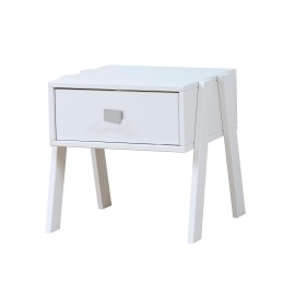 Nightstand with Drawer, Solid Wood - White by Lifetime Kidsrooms Bedside Table Children Bedroom Furniture with cubic handle
