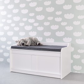 Storage Bench with Grey Cushion - White by Lifetime Kidsrooms Storage for Kids Toy Box
