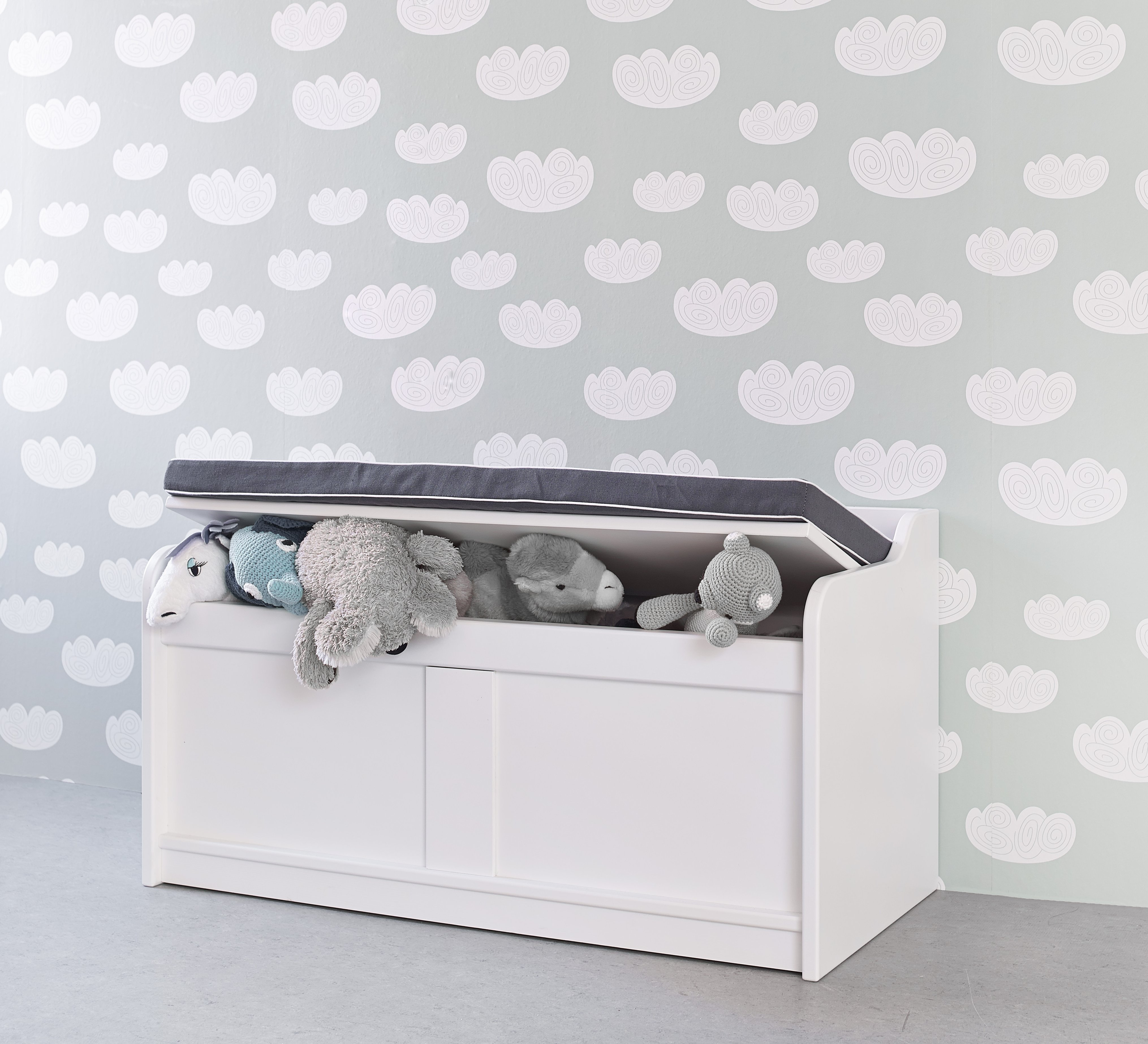 storage bench white by lifetime kidsrooms