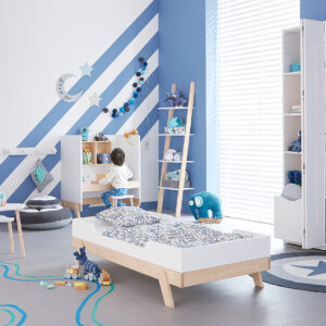 Leaning Bookcase with 4 Shelves, Solid Wood - White by Lifetime Kidsrooms
