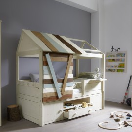 Tree House Cabin Bed, Solid Wood by Lifetime Kidsrooms for Children Bedrooms Whitewash Boys Bedroom