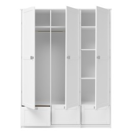 Wardrobe with 3 Doors and 3 Drawers, Solid Wood, White  by Lifetime Kidsrooms Storage for Kids