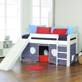Play Midsleeper with Blue Stars Tent and Slide for Kids Bedroom Fun Stompa White Solid Wood
