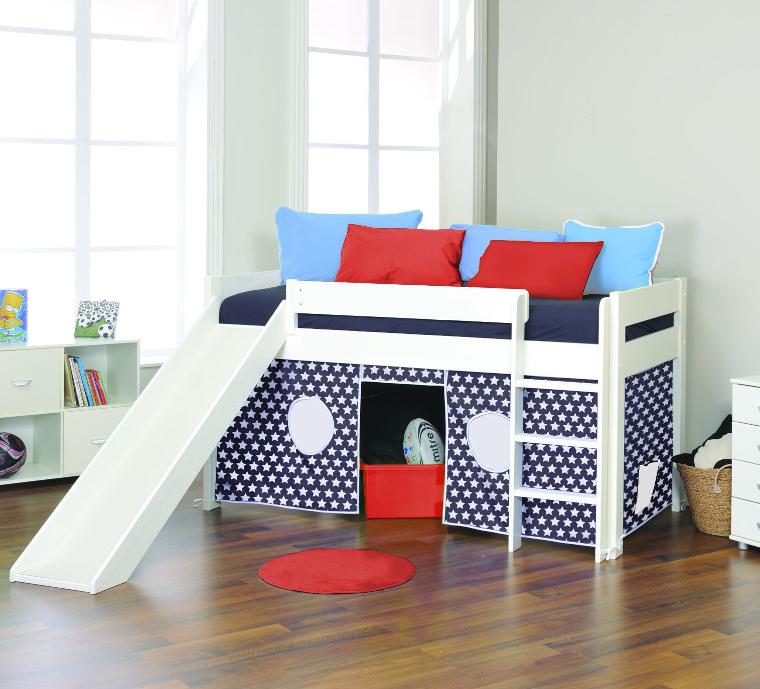 Picture of: Play Mid Sleeper Navy Star Tented Bed With Slide By Stompa