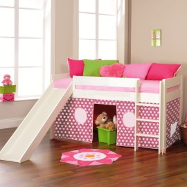 Play Midsleeper with Pink Stars Tent and Slide for Kids Bedroom Fun Stompa White Solid Wood