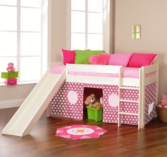 Play 3 Midsleeper Bed with Slide & Tent (Pink Star) by STOMPA