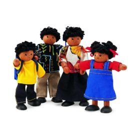 Black Doll Family Wooden Toys for Kids Pretend Play Pintoy