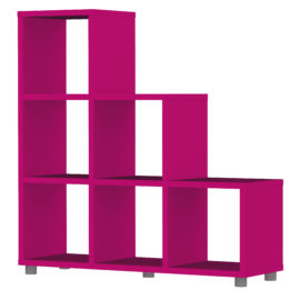 Bloc 6 Cube Stepped Storage Unit Colum Vertical Horizontal Flexible Modular Storage for Children Fuchsia