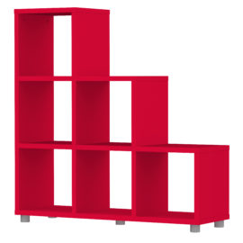 Bloc 6 Cube Stepped Storage Unit Colum Vertical Horizontal Flexible Modular Storage for Children Red