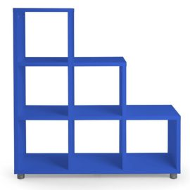 Bloc 6 Cube Stepped Storage Unit Vertical Horizontal Flexible Modular Storage for Kids Royal Blue