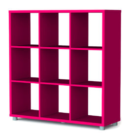 Bloc 9 Cube Storage Unit Colum Vertical Horizontal Flexible Modular Storage for Children Fuchsia
