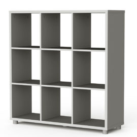 Bloc 9 Cube Storage Unit Colum Vertical Horizontal Flexible Modular Storage for Children Grey