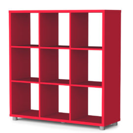 Bloc 9 Cube Storage Unit Colum Vertical Horizontal Flexible Modular Storage for Children Red