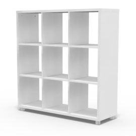 Bloc 9 Cube Storage Unit Colum Vertical Horizontal Flexible Modular Storage for Children White