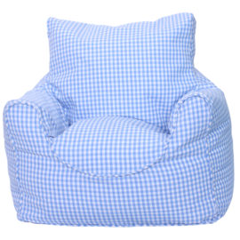 Blue Gingham Bean Chair Beanbags for Kids Seating Washable Cotton Playroom Toddlers