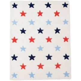 Blue Star Pure Wool Rug for Kids Bedroom Playroom Decor Hand Tufted