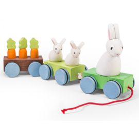 Bunny Pull along Train for Toddlers Eary Years Wooden Toy Le Toy Van Petilou Children