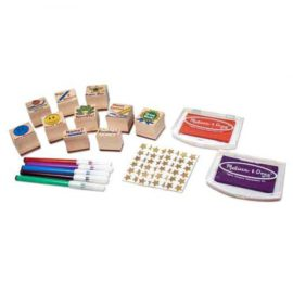 Deluxe Classroom Stamp Set for Children Melissa & Doug Wooden Toys Pretend Play Arts & Crafts