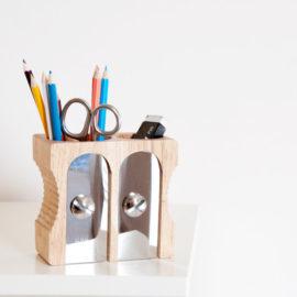 Deluxe Pencil Pot Holder Sharpener Kids Desk Accessories Wood Homework Storage Desk Tidy Double