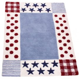Devon Spot Pure Wool Rug for Kids Bedroom Playroom Babies Decor Hand Tufted