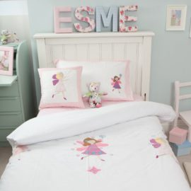 Fairy Duvet Single Duvet Set Applique for Girls Bedding Childrens Bedroom Pure Cotton