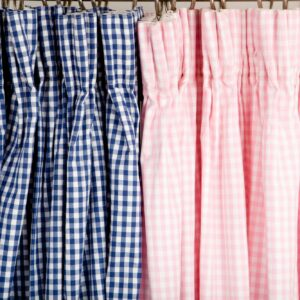 Hot Pink Gingham Pleated Curtains