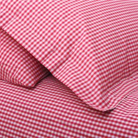 Gingham Red Check Duvet Single Duvet Set for Girls and Boys  Bedding Kids Pure Cotton