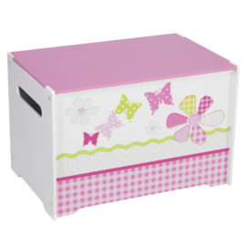 Girls' Patchwork Toy Box Bin Storage Unit for Kids Toys Furniture Toddlers Tidy Organiser MDF Nursery Pink Butterfly Flowers