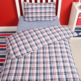 Highland Check Duvet Single Duvet Set for Boys Bedding Kids Bedroom Pure Cotton