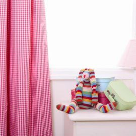 Hot Pink Gingham Pleated Lined Curtains for Kids  Children Bedroom Decor Pure Cotton