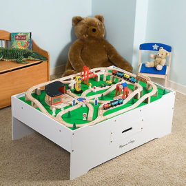 Melissa & Doug Deluxe Wood Multi Use Activity Table for Kids Play Room