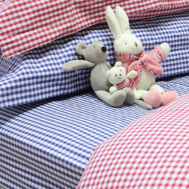 Navy Gingham Fitted Single Sheet for Kids Bedding Children Bedroom Pure Cotton