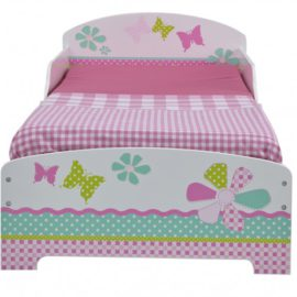 Patchwork Toddler Bed Flowers and Butterflies for Kids Bedroom