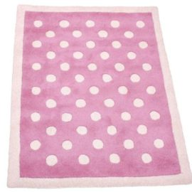 Pink Dotty Girls Pure Wool Rug for Kids Bedroom Playroom Decor Hand Tufted