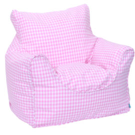 Pink Gingham Bean Chair Beanbags for Kids Seating Washable Cotton Playroom Toddlers
