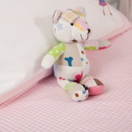 Pink Gingham Fitted Single Sheet for Kids Bedding Children Bedroom Pure Cotton