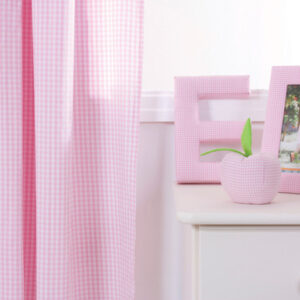Pink Gingham Pleated Curtains