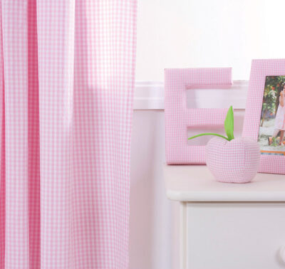 Pink Gingham Pleated Curtains (Only 1 Left)