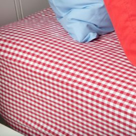 Red Gingham Fitted Single Sheet for Kids Bedding Children Bedroom Pure Cotton