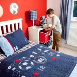 Sports Quilt for Boys Bedding Bedroom Teenager Decor Children Pure Cotton Football Rugby