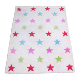 Star Girls Pure Wool Rug for Kids Bedroom Playroom Decor Hand Tufted
