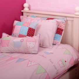 Tea Party Single Duvet Set for Kids Girls Pink Applique Pure Cotton