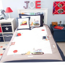 Trucks and Diggers Duvet Single Duvet Applique Set for Boys Bedding Bedroom Kids Cotton