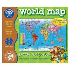 World Map Jigsaw Floor Puzzle and Poster for Kids Orchard Toys