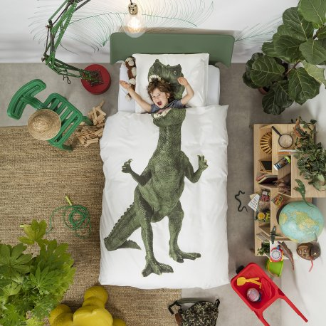 Dinosaur Duvet Set - White (Single)