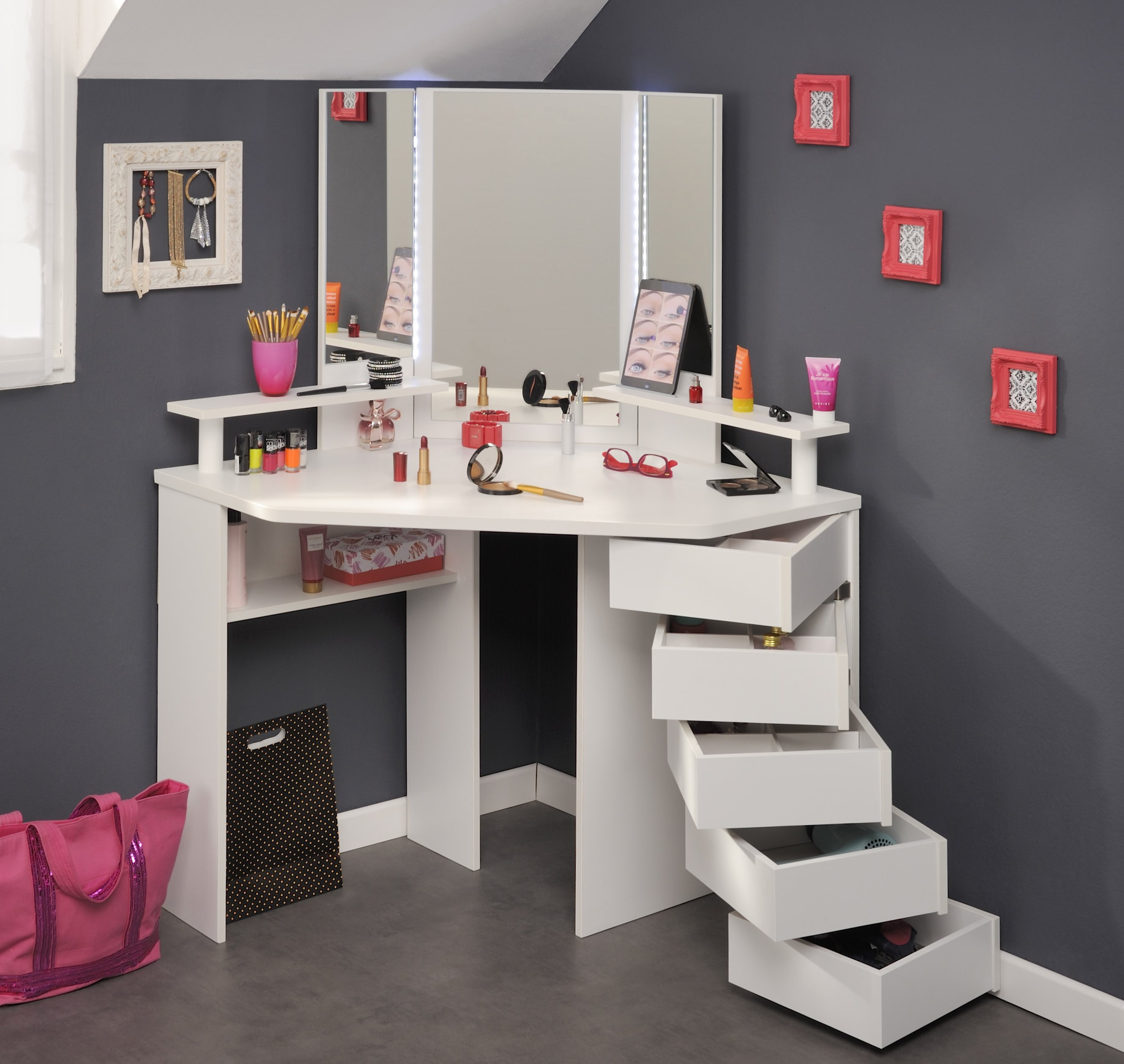 camille corner dressing table with led 39 s for children in s a