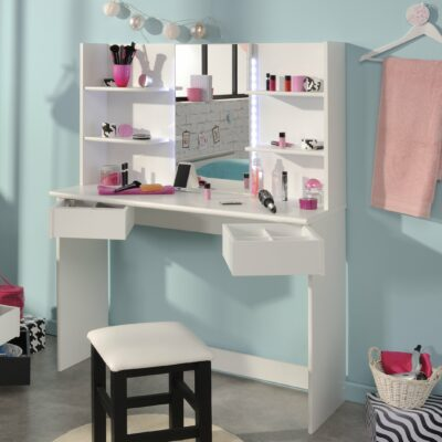 Elle Dressing Table with LED's - White
